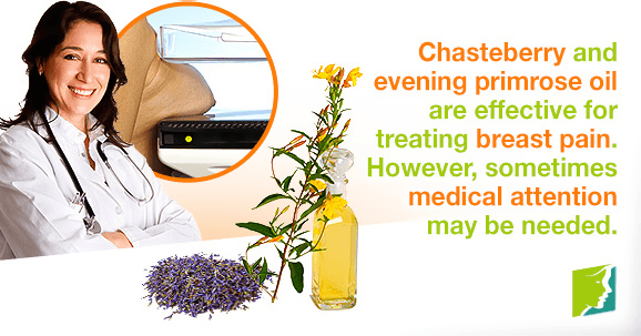 Chasteberry and evening primrose oil are effective for treating breast pain. However, sometimes medical attention may be needed