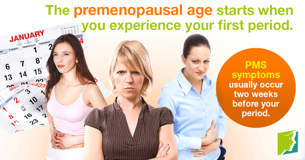 The premenopausal age starts when you experience your first period.