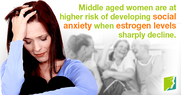 Middle aged women are at higher risk of developing social anxiety when estrogen levels sharply decline.