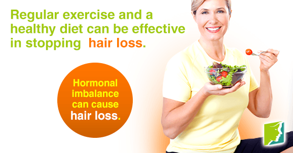 Regular exercise and a healthy diet can be effective in stopping hair loss