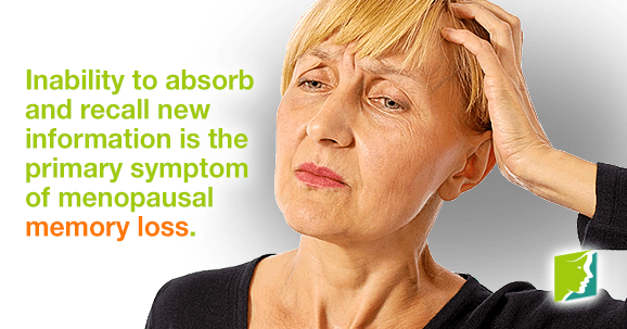 Inability to absorb and recall new information is the primary symptom of menopausal memory loss.