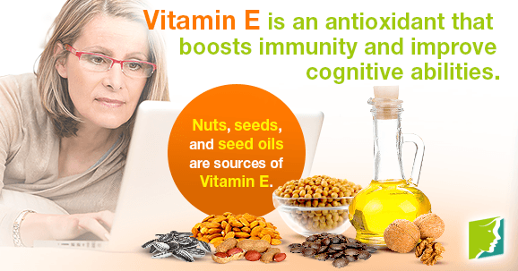Vitamin E is an antioxidant that boosts immunity and improve cognitive abilities.