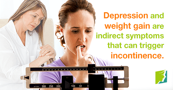 Depression and weight gain are indirect symptoms that can trigger incontinence.