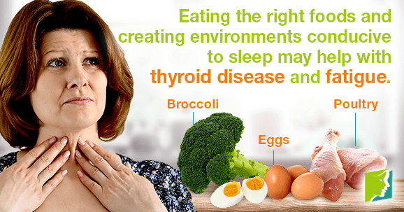 Eating the right foods and creating environments conducive to sleep may help with thyroid disease and fatigue.