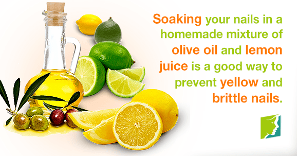 Soaking your nails in a homemade mixture of olive oil and lemon juice is a good way to prevent yellow and brittle nails
