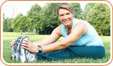 Woman doing exercise: regular exercises help to improve blood circulation