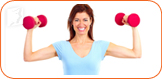 Woman holding dumbbells: an exercise routine can help provide relief from menopause symptoms