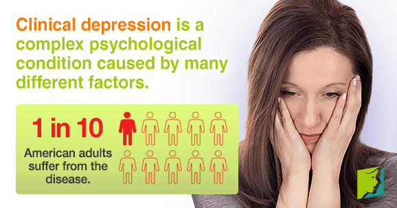 Clinical depression is a complex psychological condition caused by many different factors