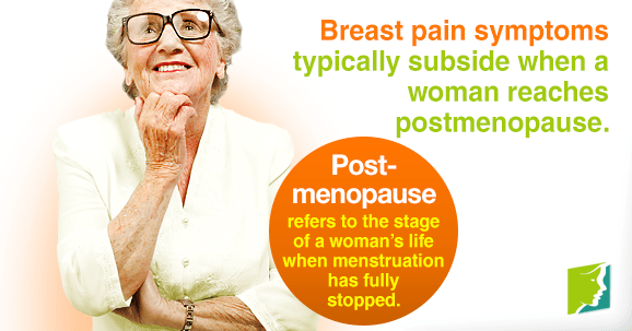Breast pain symptoms typically subside when a woman reaches postmenopause