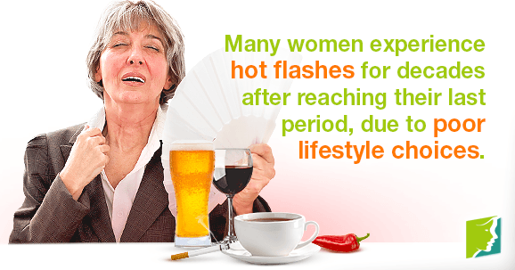 Many women experience hot flashes for decades after reaching their last period, due to poor lifestyle choices.