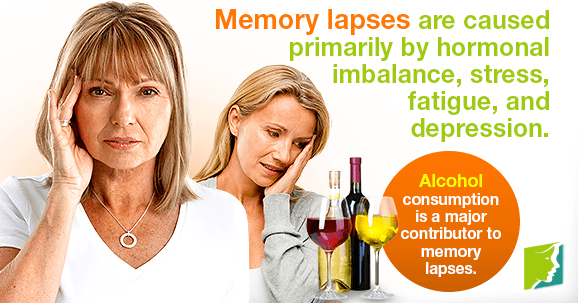 Memory lapses are caused primarily by hormonal imbalance, stress, fatigue, and depression.